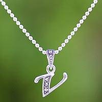 Marcasite pendant necklace, 'Silver Letter V' - Marcasite and Sterling Silver Letter V Pendant Necklace