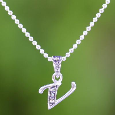 Marcasite and sterling silver letter v pendant necklace silver marcasite pendant necklace silver letter v marcasite and sterling silver letter v aloadofball Images