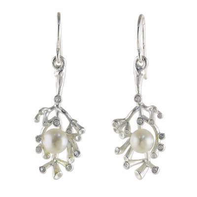 Cultured pearl dangle earrings, 'Princess of the Sea' - Sterling Silver and Cultured Pearl Dangle Earrings