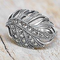 Marcasite cocktail ring, 'Dewy Leaf' - Sterling Silver and Marcasite Leaf Cocktail Ring