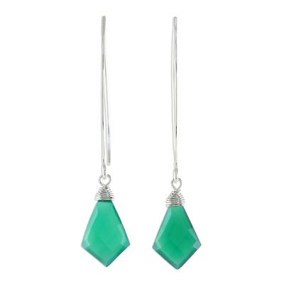 Teal Chalcedony Dangle Earrings from Thailand