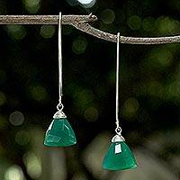 Chalcedony dangle earrings, 'Green Peony' - Green Chalcedony Sterling Silver Dangle Earrings Thailand