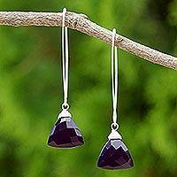 Chalcedony dangle earrings, 'Dark Purple Lotus' - Dark Purple Chalcedony Dangle Earrings from Thailand