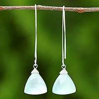Chalcedony dangle earrings, 'Misty Aqua' - Misty Aqua Chalcedony Dangle Earrings from Thailand