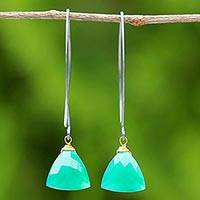 Gold accent chalcedony dangle earrings, 'Green Peony' - Gold Accent Green Chalcedony Dangle Earrings from Thailand
