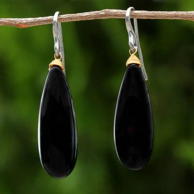 Gold Accent Onyx Dangle Earrings Cosmos Drops In Black