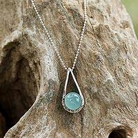 Chalcedony pendant necklace, 'Skyfall in Aqua' - Sterling Silver Aqua Chalcedony Pendant Necklace Thailand