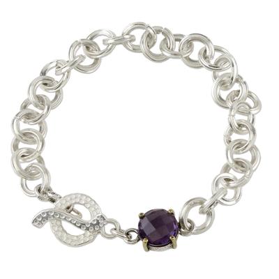 Amethyst chain bracelet, 'Magic Moon' - Sterling Silver Chain and Amethyst Pendant Bracelet