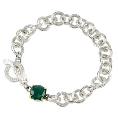 Onyx chain bracelet, 'Magic Moon' - Bracelet with Green Onyx Gemstone and Sterling Silver Chain