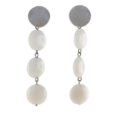 White Quartz Dangle Earrings from Thailand