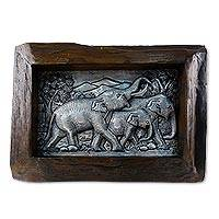 Aluminum repousse panel, 'Elephant Joy' - Aluminum and Raintree Wood Elephant Repousse Panel