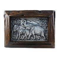 Aluminum repousse panel, 'Walking with Family' - Aluminum Elephant Repousse Panel with Raintree Wood Frame