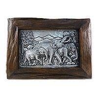 Aluminum repousse panel, 'Happy Memories' - Aluminum Elephant Repousse Panel with Raintree Wood Frame
