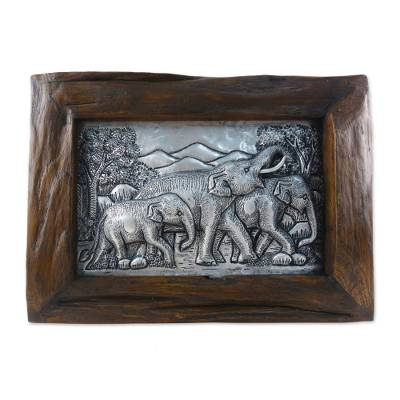 Aluminum Elephant Repousse Panel with Raintree Wood Frame
