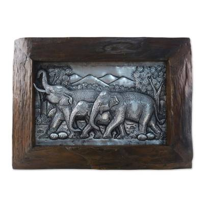 Aluminum repousse panel, 'In the Forest' - Aluminum Repousse Panel of Elephants in Raintree Wood Frame