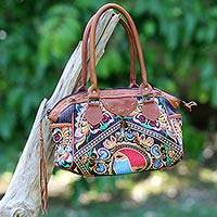 Leather accented cotton baguette, 'Hill Tribe Butterflies' - Thai Hill Tribe Embroidered Handbag with Leather Accents
