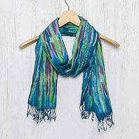 Silk scarf, 'Enchanting Love' - Hand Woven Fringed Silk Scarf in Multicolor from Thailand