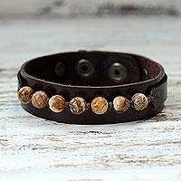Men's jasper and leather wristband bracelet, 'Rock Party'