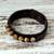 Men's jasper and leather wristband bracelet, 'Rock Party' - Handmade Men's Jasper & Leather Bracelet from Thailand (image 2b) thumbail
