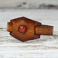 Carnelian and leather wristband bracelet, 'Carnelian Glow'
