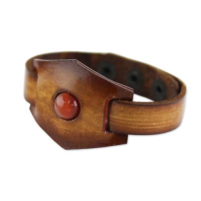 Carnelian and leather wristband bracelet, 'Carnelian Glow' - Leather and Carnelian Adjustable Snap Bracelet
