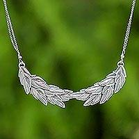 Silver pendant necklace, 'Precious Leaves'