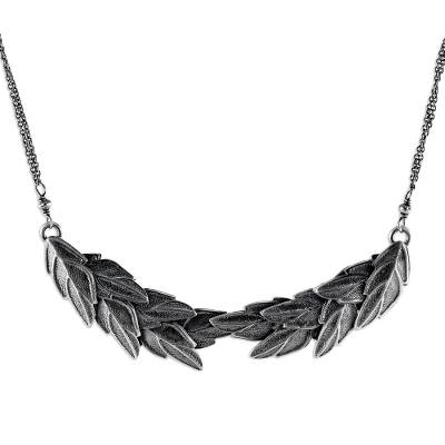 Silver pendant necklace, 'Precious Leaves' - Karen Silver Leafy Pendant Necklace from Thailand