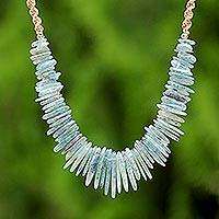Kyanite beaded pendant necklace, 'Blue Aesthetic' - Kyanite Beaded Pendant Necklace from Thailand