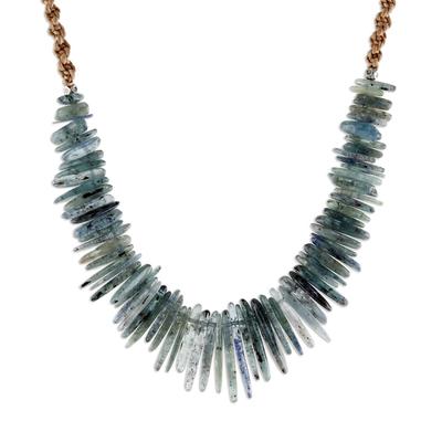 Kyanite beaded pendant necklace, 'Blue Aesthetic' - Kyanite Beaded Pendant Necklace from Thailand
