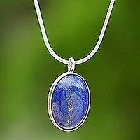 Lapis lazuli pendant necklace, 'Spangled Oval' - Sterling Silver and Lapis Lazuli Pendant Necklace Thailand