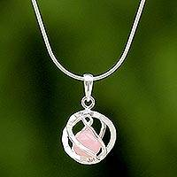Rose quartz pendant necklace, 'Pink Orb of Energy' - Sterling Silver Rose Quartz Pendant Necklace from Thailand