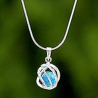 Sterling silver pendant necklace, 'Blue Orb of Energy'