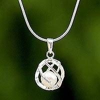 Cultured pearl pendant necklace, 'White Orb of Energy'
