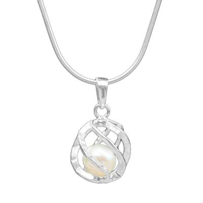 Cultured pearl pendant necklace, 'White Orb of Energy' - Thai Sterling Silver and Cultured Pearl Pendant Necklace