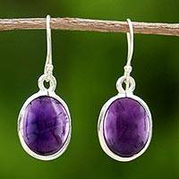 Amethyst dangle earrings, 'Violet Love' - Amethyst and Sterling Silver Dangle Earrings from Thailand