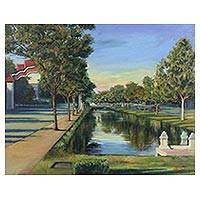 '2 PM in Chiang Mai Moat' - Signed Impressionist Painting of Chiang Mai from Thailand