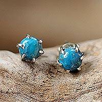 Sterling silver stud earrings, 'To the Point' - Sterling Silver Turquoise Stud Earrings from Thailand