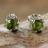 Peridot stud earrings, 'To the Point' - Sterling Silver and Peridot Stud Earrings from Thailand
