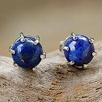 Lapis lazuli stud earrings, 'To the Point' - Sterling Silver and Lapis Lazuli Stud Earrings from Thailand