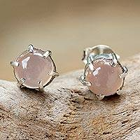Chalcedony stud earrings, 'To the Point' - Sterling Silver and Chalcedony Stud Earrings from Thailand