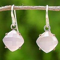 Gold accent chalcedony dangle earrings, 'Moon Kisses in Pink'