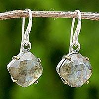 Gold accent labradorite dangle earrings, 'Iridescent Moon Kisses' - Gold Accent Labradorite Dangle Earrings from Thailand
