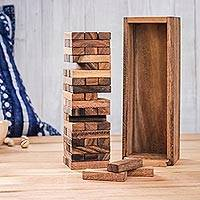 Wood stacking game, 'Tower Delight' - Wood Stacking Tower Game with Box from Thailand