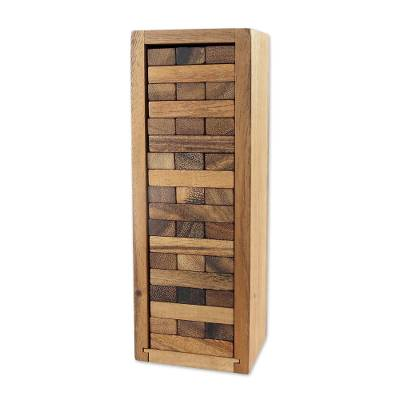 Wood game, 'Stacking Tower'  - Wood Stacking Tower Game with Box from Thailand