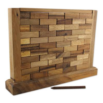 Wood game, 'Stacking Wall' - Handmade Multi Player Raintree Wood Game from Thailand