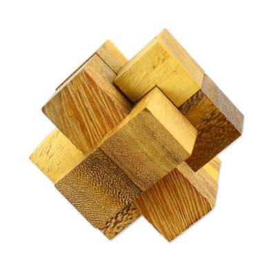 Wood puzzle, 'Wood Burr' - Hand Made Wood Puzzle Game 6 Pieces from Thailand