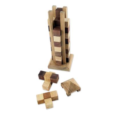 Wood puzzle, 'Babylon Tower' - Hand Made Wood Tower Puzzle Game from Thailand