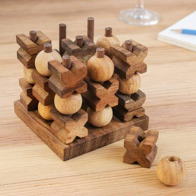 Wood game, '3D Tic Tac Toe' - Hand Made Wood Game Tic Tac Toe from Thailand