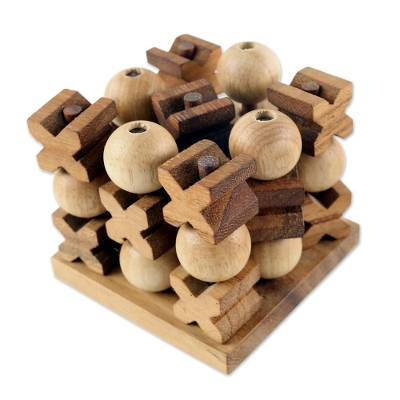 Hand Made Wood Game Tic Tac Toe from Thailand - 3D Tic Tac Toe | NOVICA