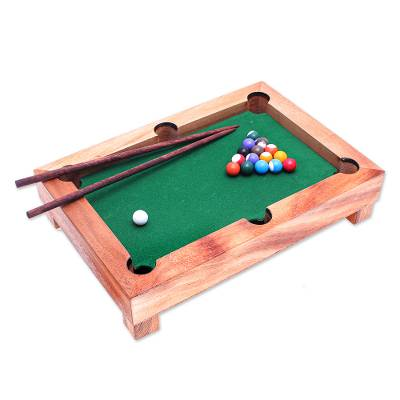 Wood mini billiards game, 'Best of Billiards' - Handmade 12-Inch Raintree Wood Billiards Game from Thailand